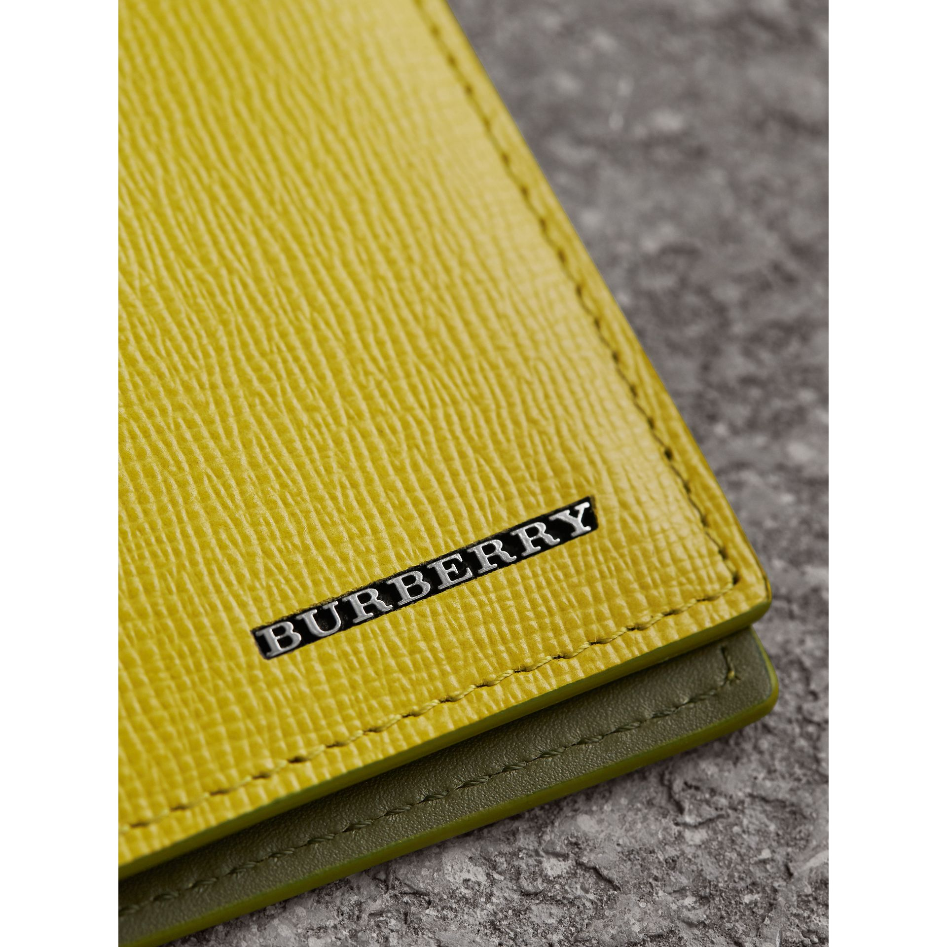 London Leather Slim Folding Wallet in Bright Citrus | Burberry Australia - gallery image 5
