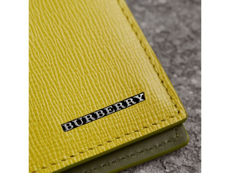 London Leather Slim Folding Wallet in Bright Citrus | Burberry - cell image 4