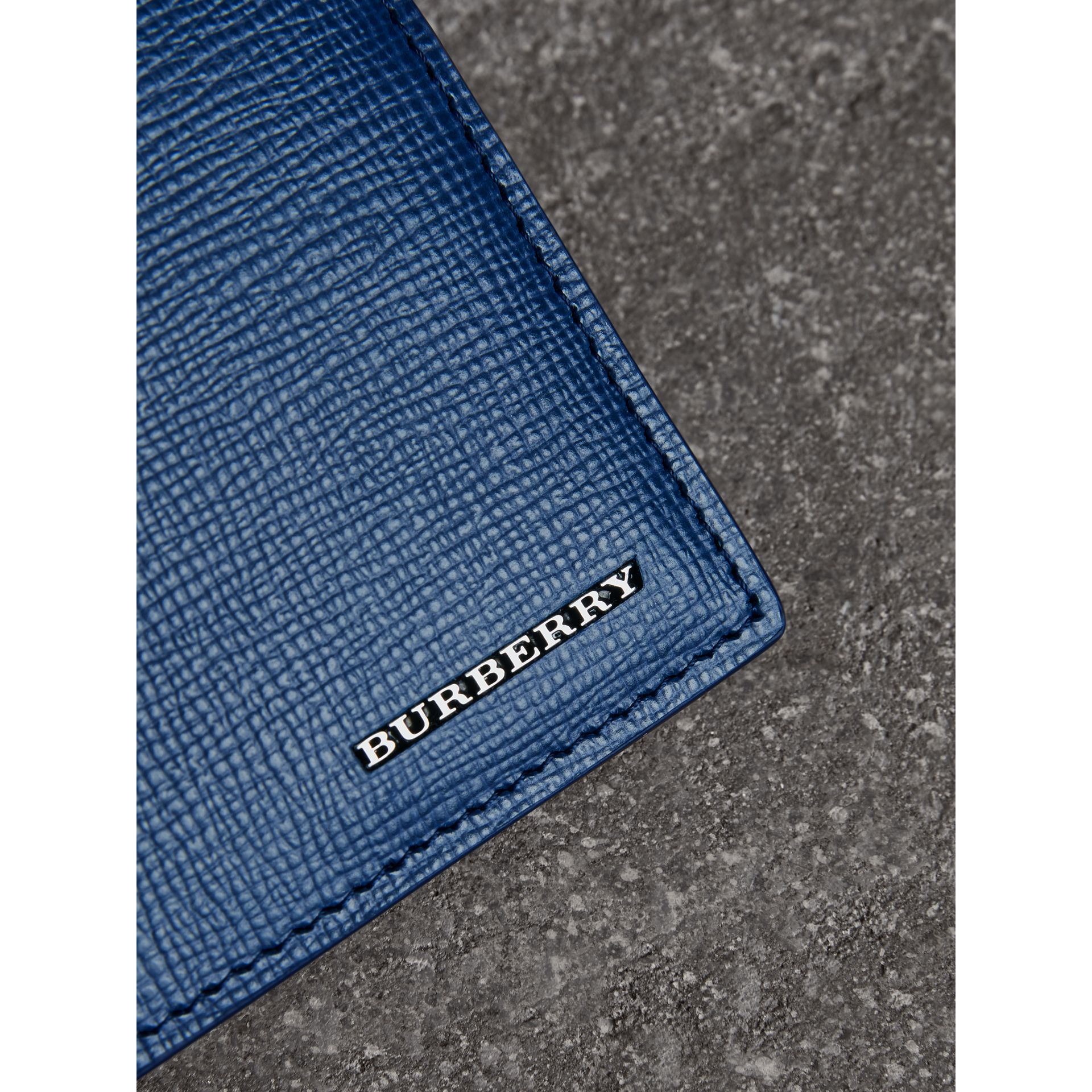 London Leather Bifold Wallet in Deep Blue - Men | Burberry - gallery image 1