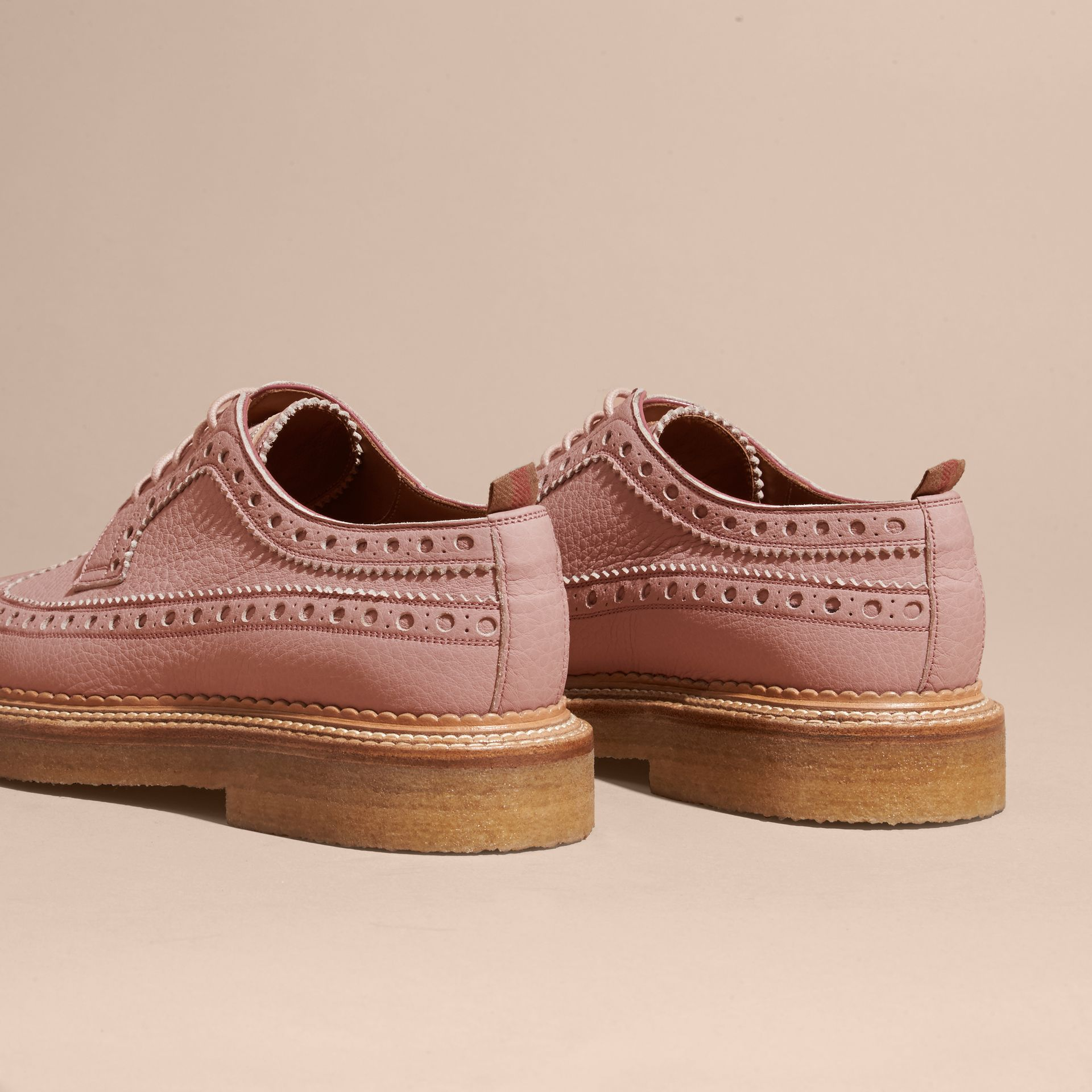 Leather Wingtip Brogues in Rose Pink - gallery image 4