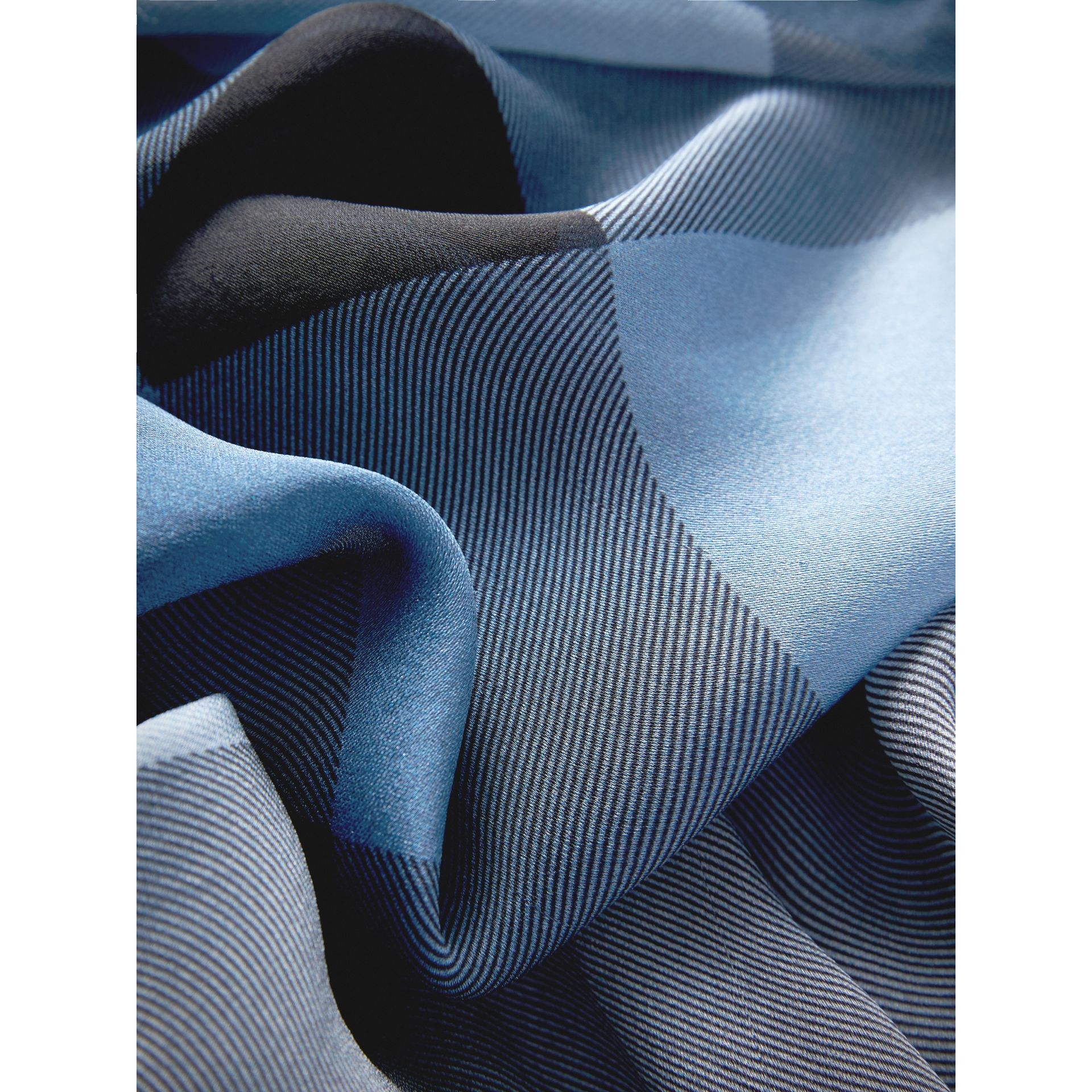 Ombré Washed Check Silk Scarf in Dusty Blue - Women | Burberry - gallery image 1