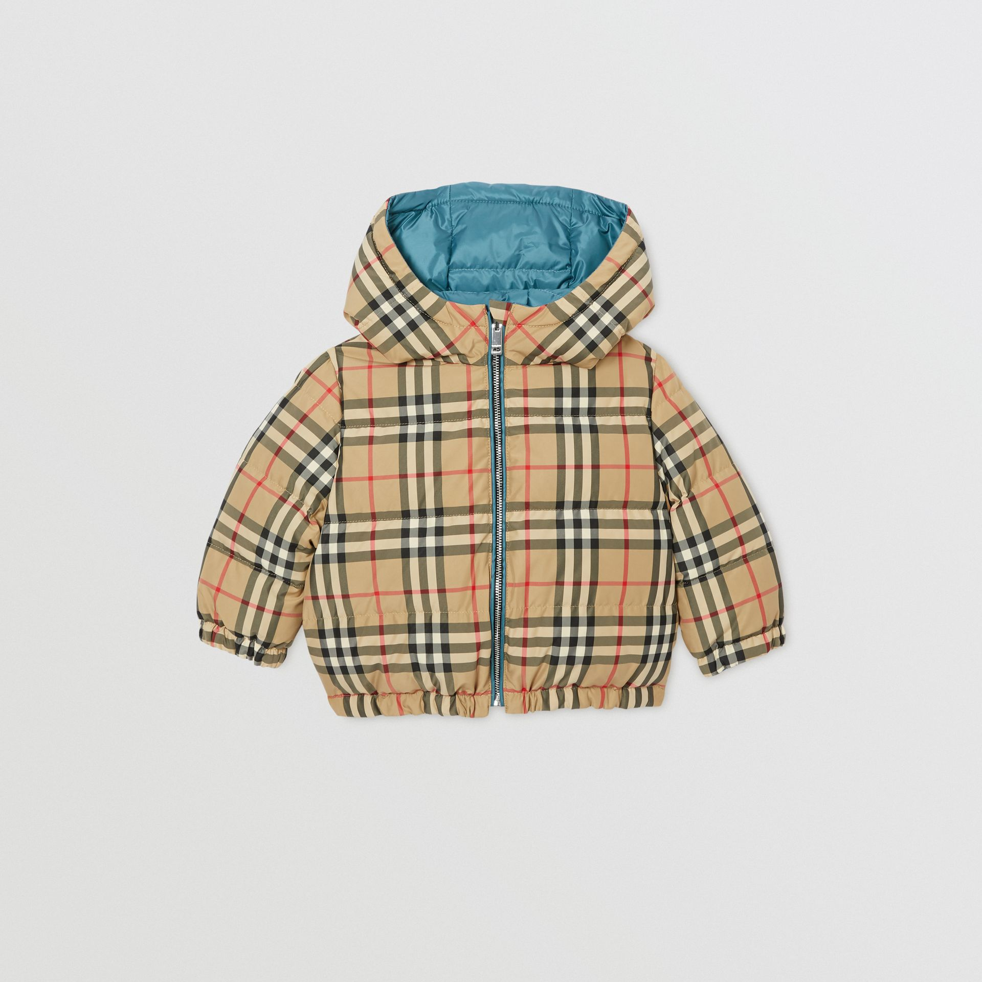 Reversible Vintage Check Down-filled Puffer Jacket in Dusty Blue - Children | Burberry Australia - gallery image 4