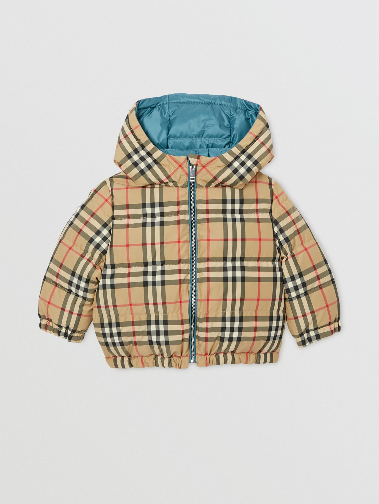 Reversible Vintage Check Down-filled Puffer Jacket (Dusty Blue)