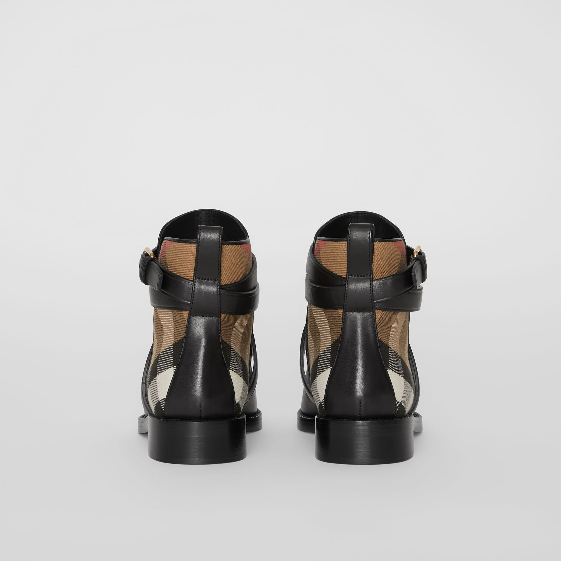 House Check and Leather Ankle Boots in Black - Women | Burberry Australia - gallery image 4