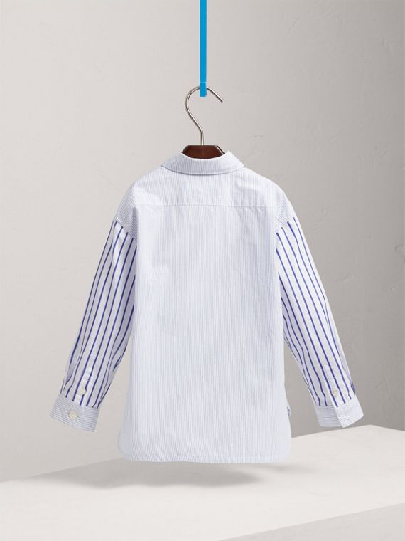 Contrast Stripe Cotton Shirt in Light Blue - Boy | Burberry - cell image 3