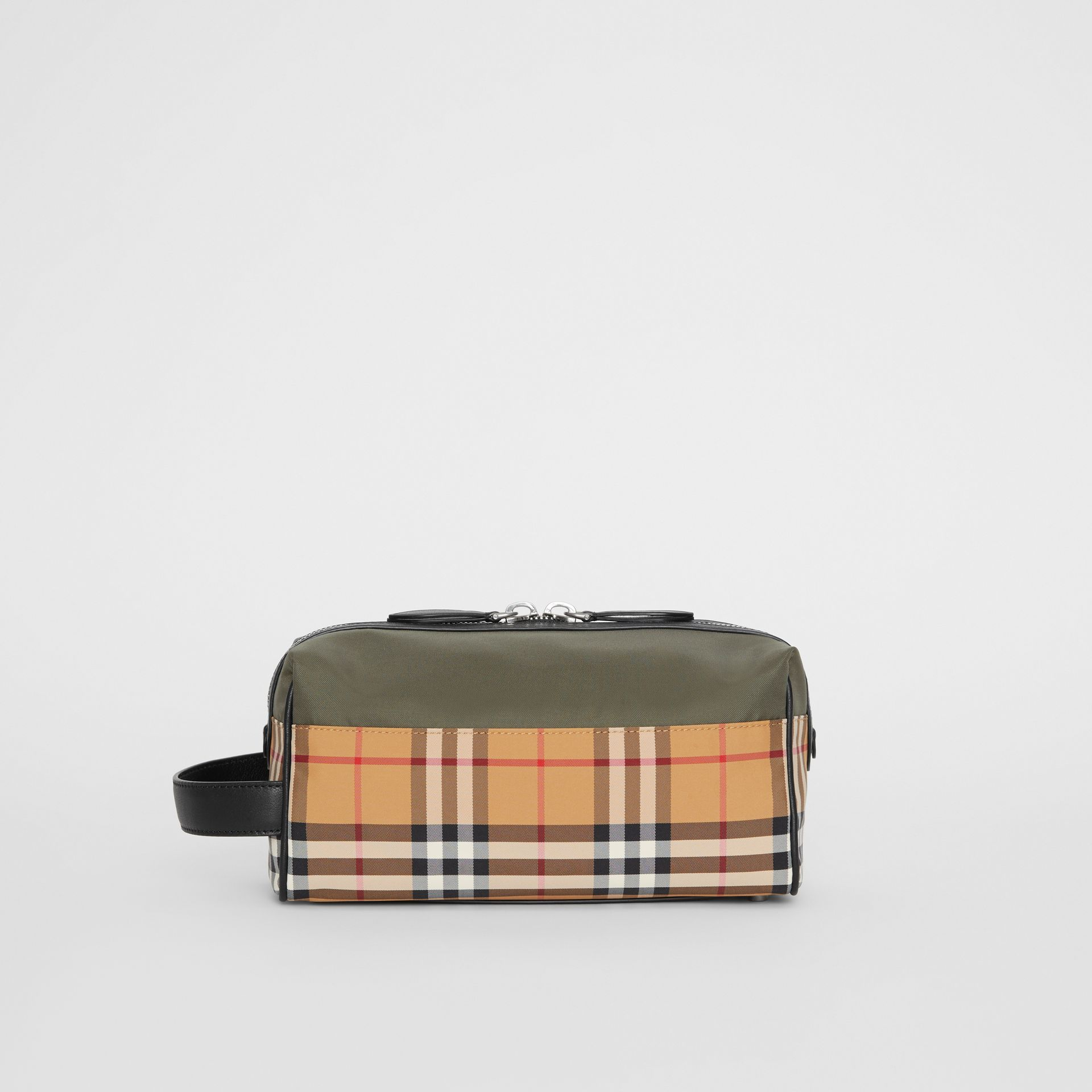 Vintage Check and Colour Block Pouch in Military Green/vintage | Burberry - gallery image 7