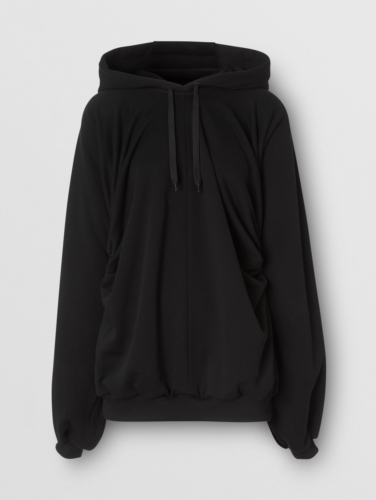 Location Print Gathered Cotton Oversized Hoodie (Black)