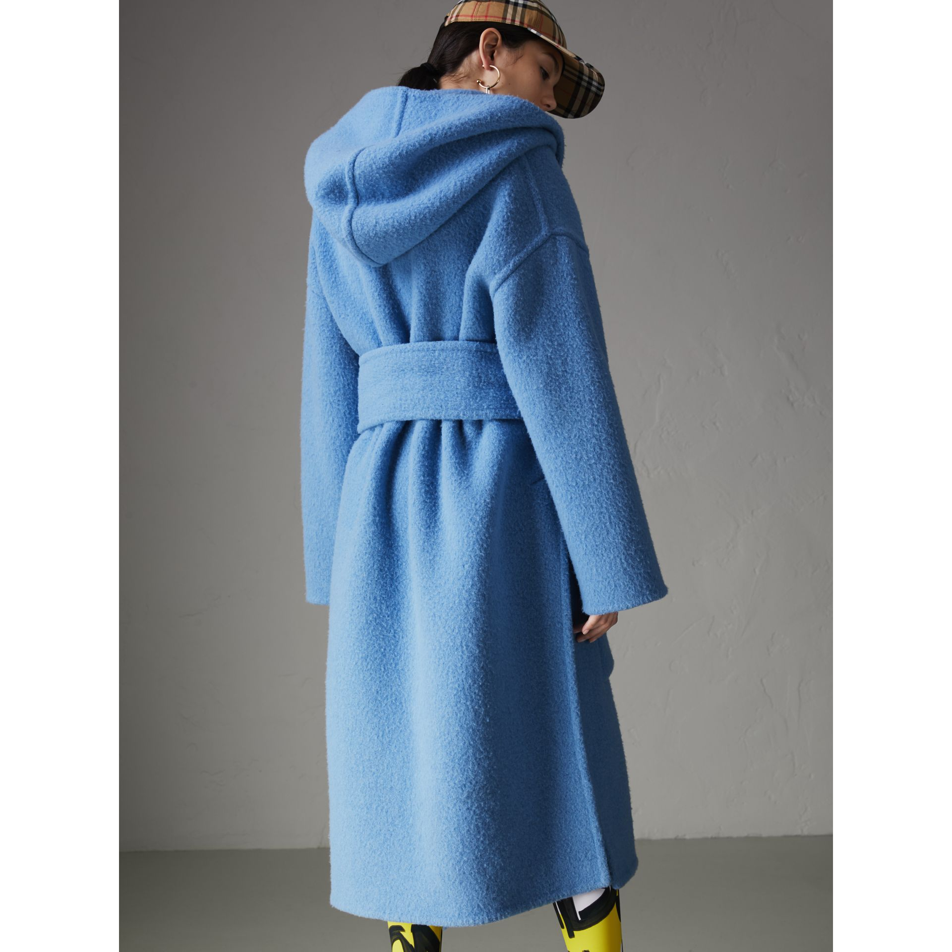 Alpaca Wool Blend Dressing Gown Coat in Hydrangea Blue - Women | Burberry Canada - gallery image 2