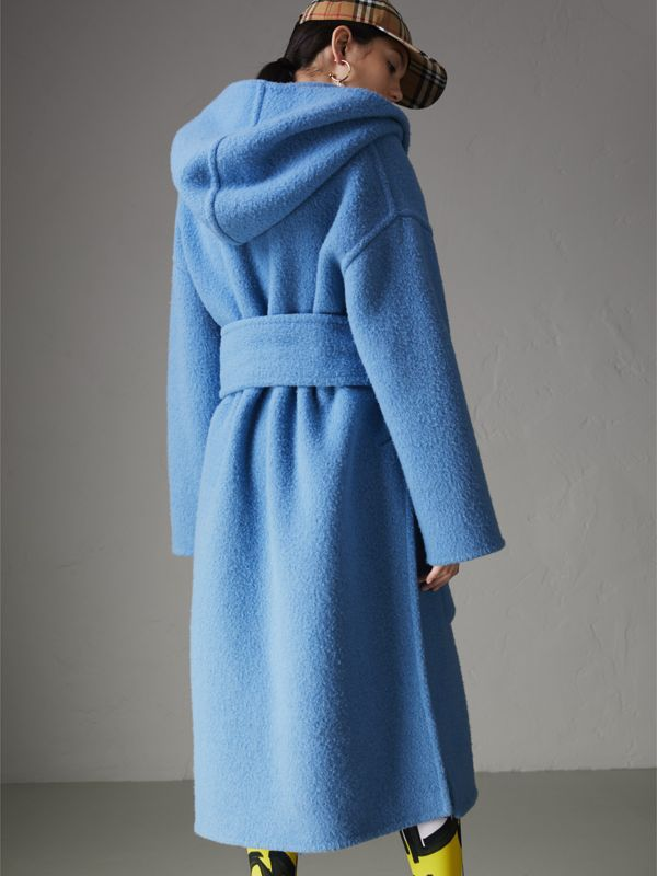 Alpaca Wool Blend Dressing Gown Coat in Hydrangea Blue - Women | Burberry - cell image 2