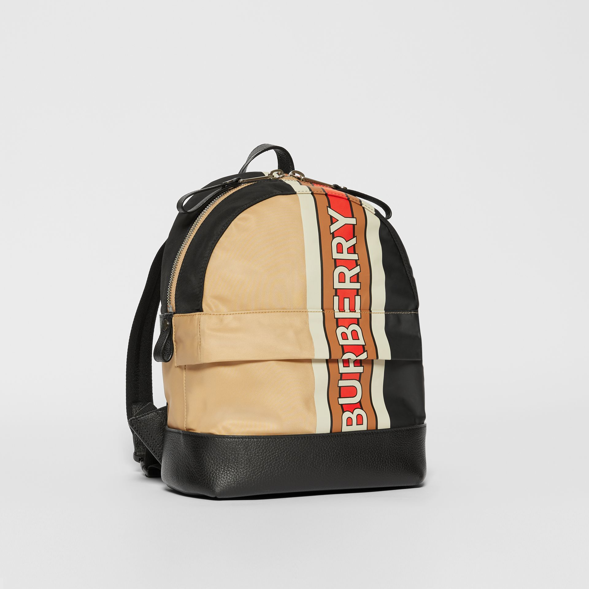 Logo Print Striped ECONYL® Backpack in Archive Beige - Children | Burberry United Kingdom - gallery image 4