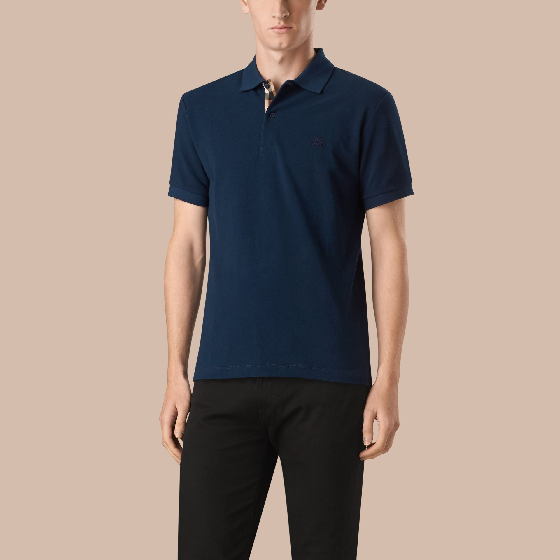 Bright navy Check Placket Cotton Piqué Polo Shirt Bright Navy - gallery image 1