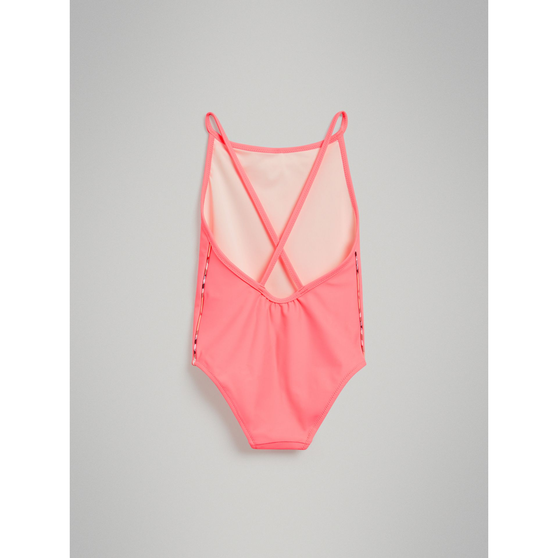 Check Piping One-piece Swimsuit in Bright Coral - Girl | Burberry - gallery image 3