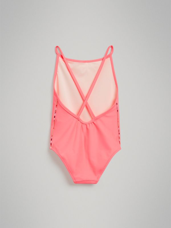 Check Piping One-piece Swimsuit in Bright Coral | Burberry United Kingdom - cell image 3