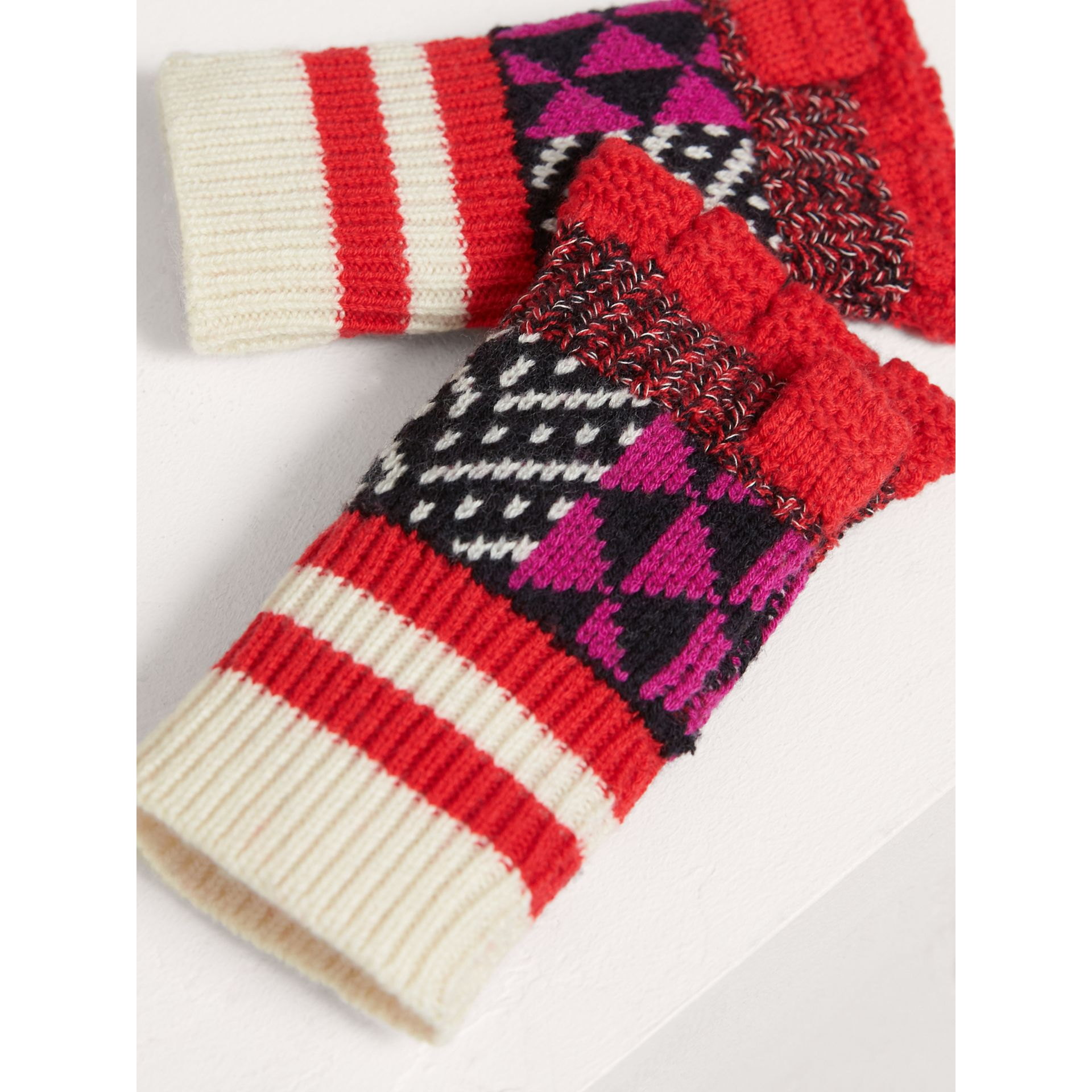 Patterned Wool Cashmere Fingerless Gloves in Military Red | Burberry - gallery image 3