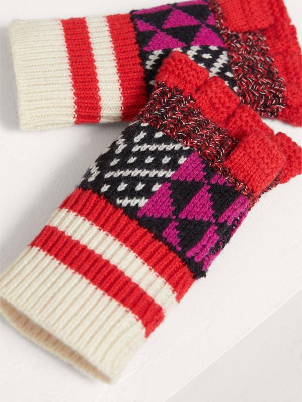 Перчатки без пальцев из кашемира и шерсти (Армейский Ярко-красный) | Burberry - cell image 2