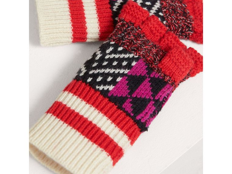 Patterned Wool Cashmere Fingerless Gloves in Military Red - Girl | Burberry - cell image 2