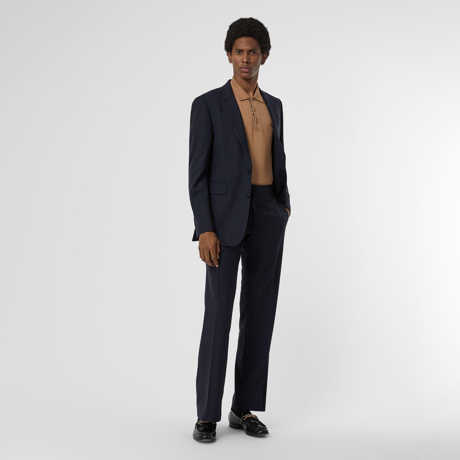 Classic Fit Pinstriped Wool Tailored Trousers in Navy Stripe - Men | Burberry United Kingdom - gallery image 0