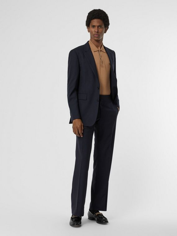 Classic Fit Pinstriped Wool Tailored Trousers in Navy Stripe