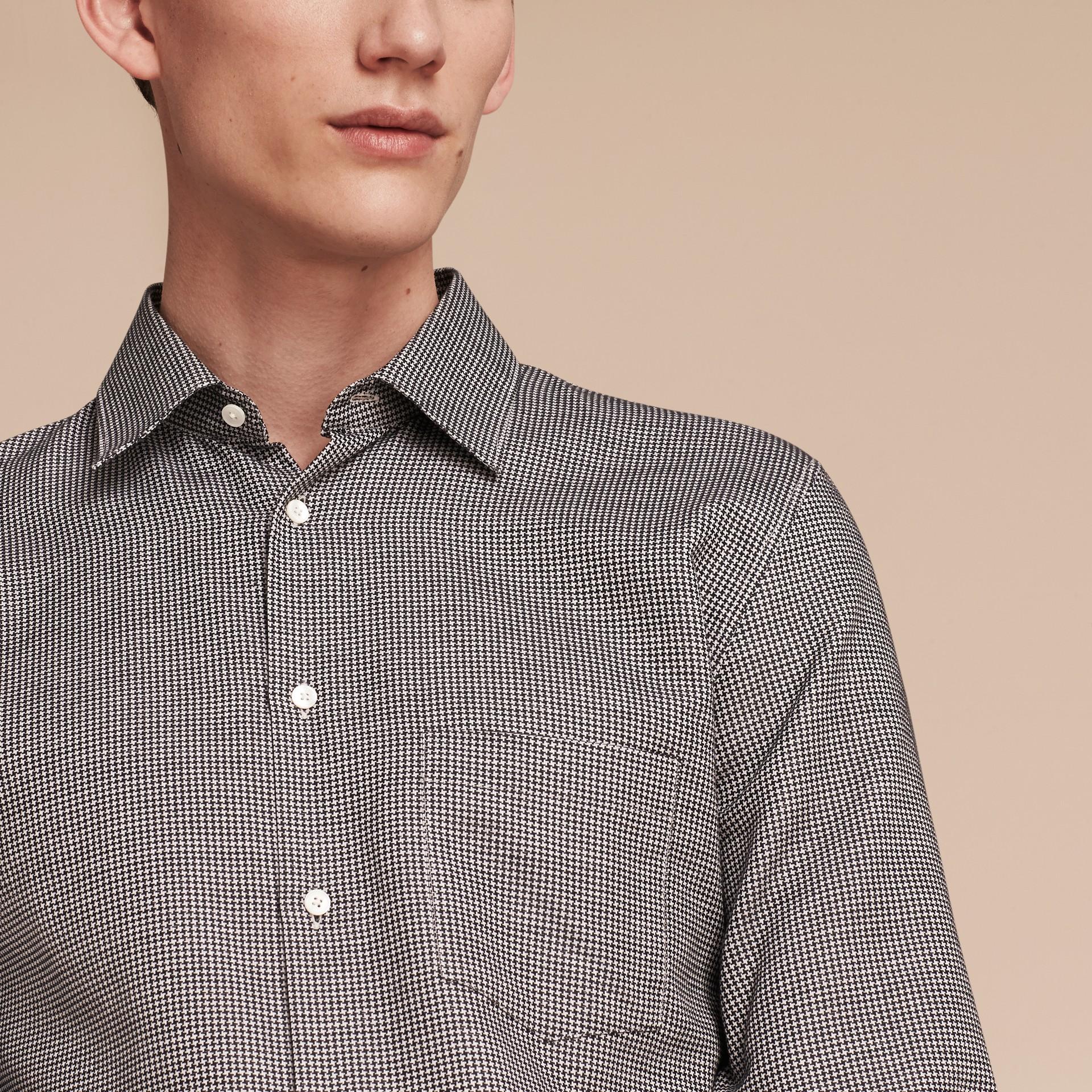 Schwarz Hemd aus Baumwolle mit kleinem Hahnentrittmuster - Galerie-Bild 5