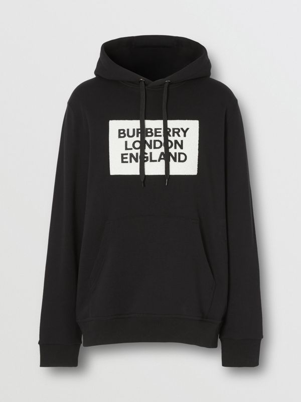 Logo Appliqué Cotton Hoodie in Black - Men | Burberry - cell image 3