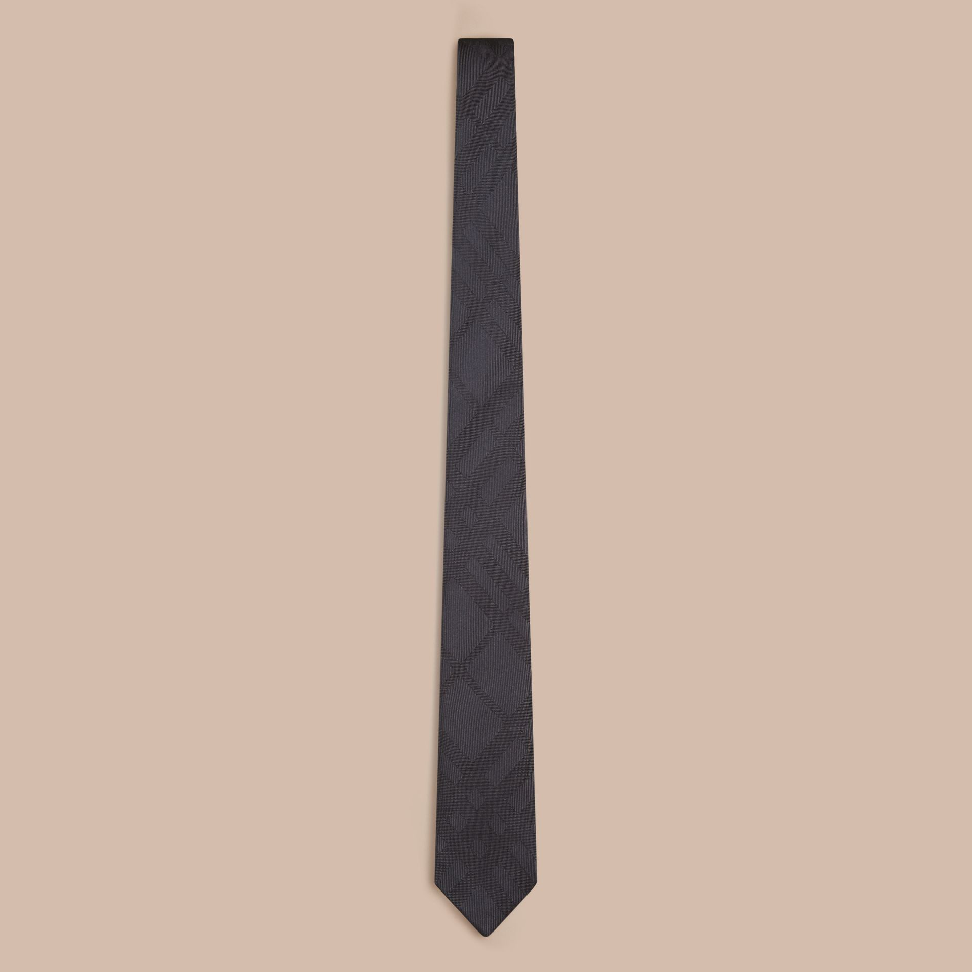 Charcoal Slim Cut Check Silk Tie Charcoal - gallery image 1