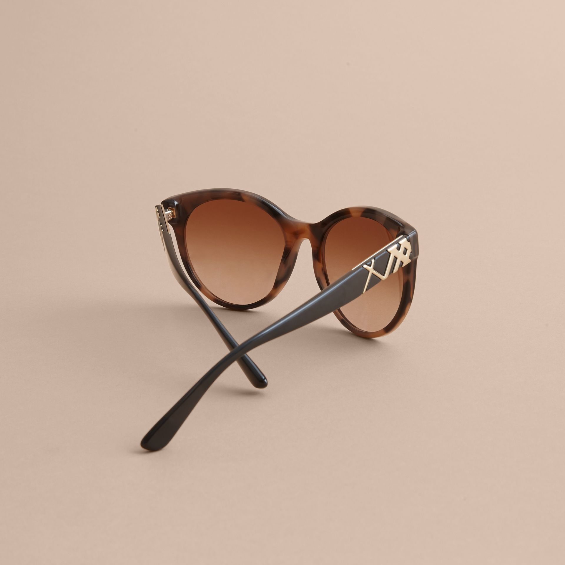 Check Detail Round Frame Sunglasses in Amber - Women | Burberry Singapore - gallery image 4