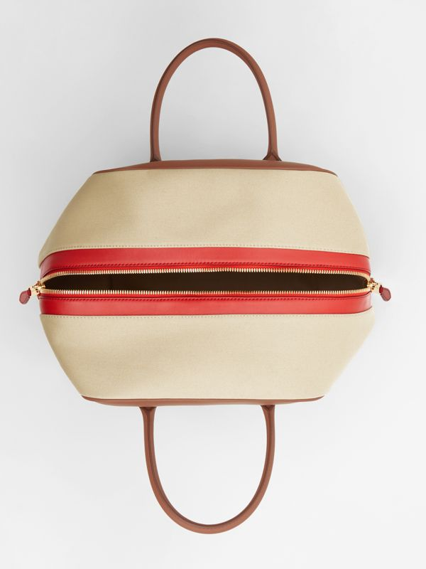 Medium Leather and Cotton Canvas Cube Bag in Malt Brown - Women | Burberry Australia - cell image 3