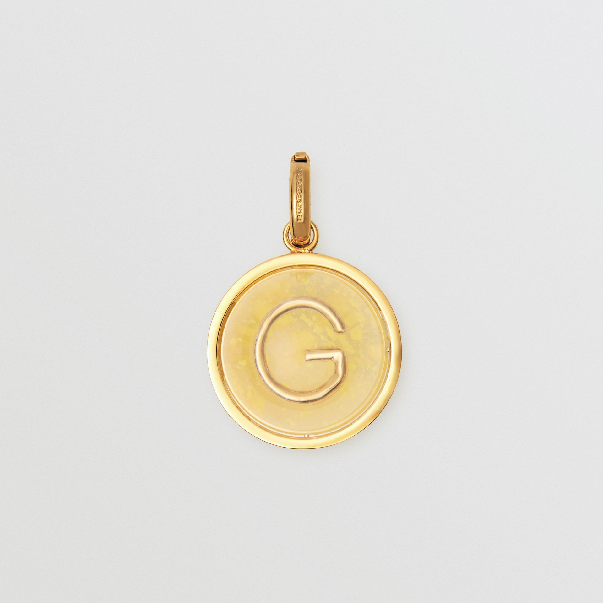 Marbled Resin 'G' Alphabet Charm in Gold/mimosa - Women | Burberry - gallery image 0