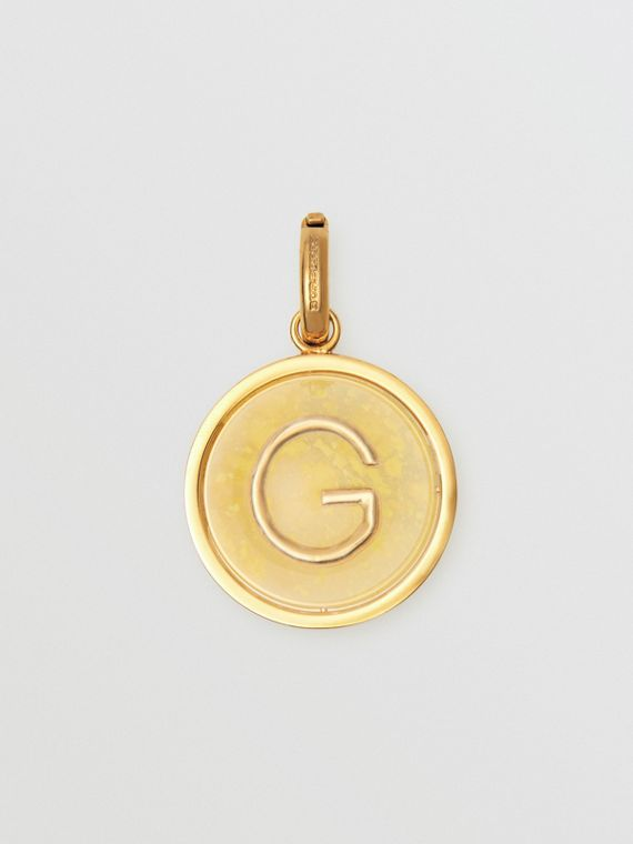 Marbled Resin 'G' Alphabet Charm in Gold/mimosa