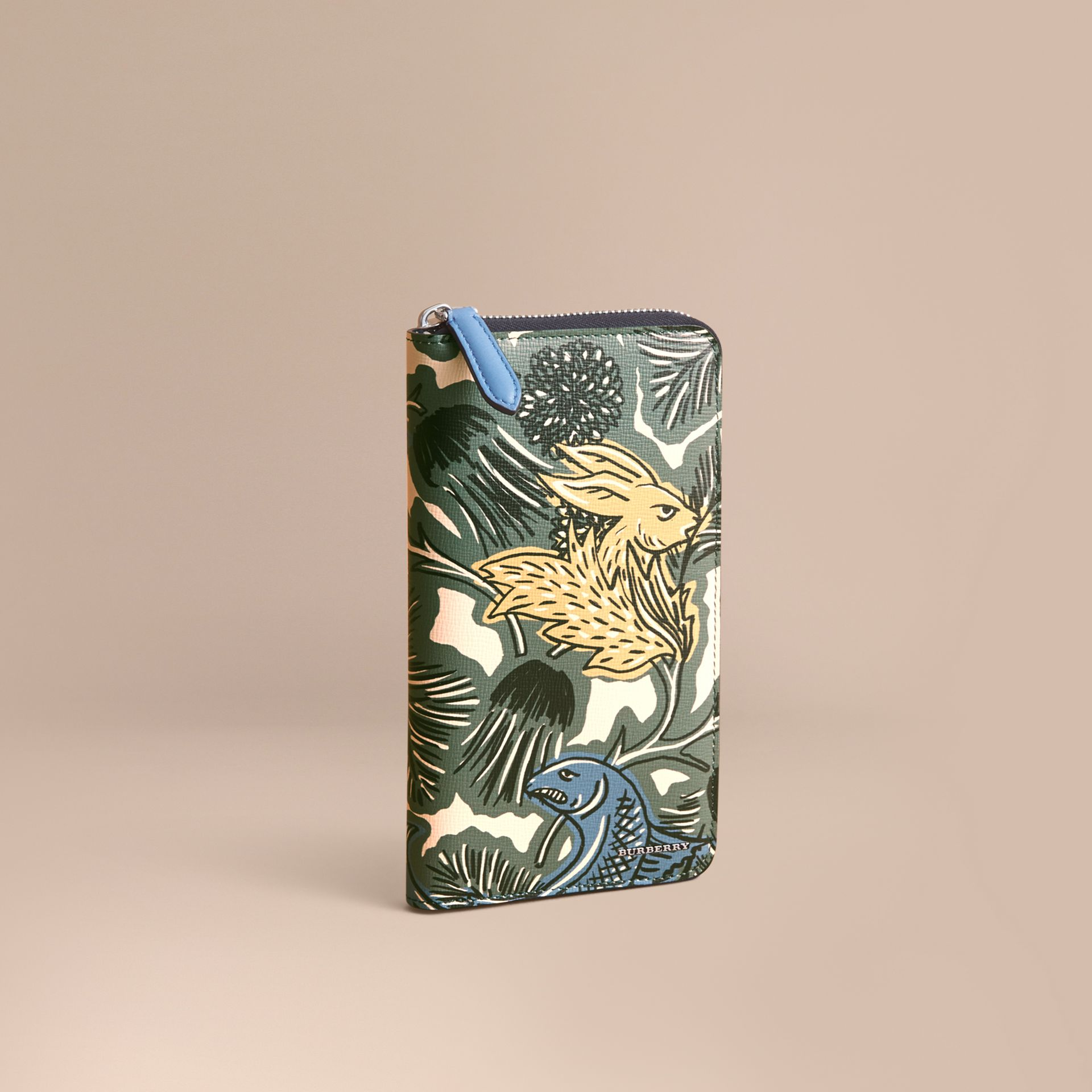 Beasts Print Leather Ziparound Wallet - gallery image 1