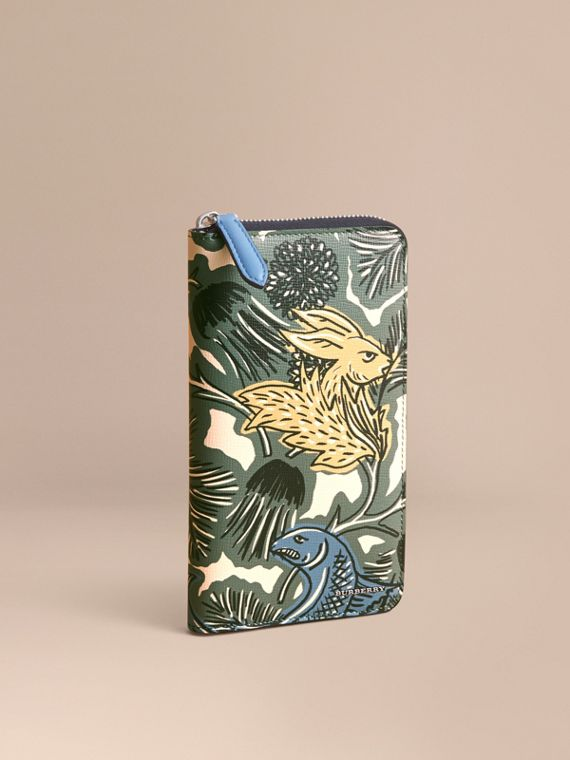 Beasts Print Leather Ziparound Wallet in Sage Green