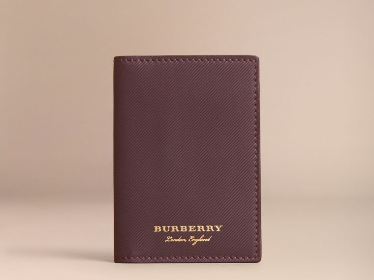 Trench Leather Folding Card Case in Wine - Men | Burberry - cell image 4