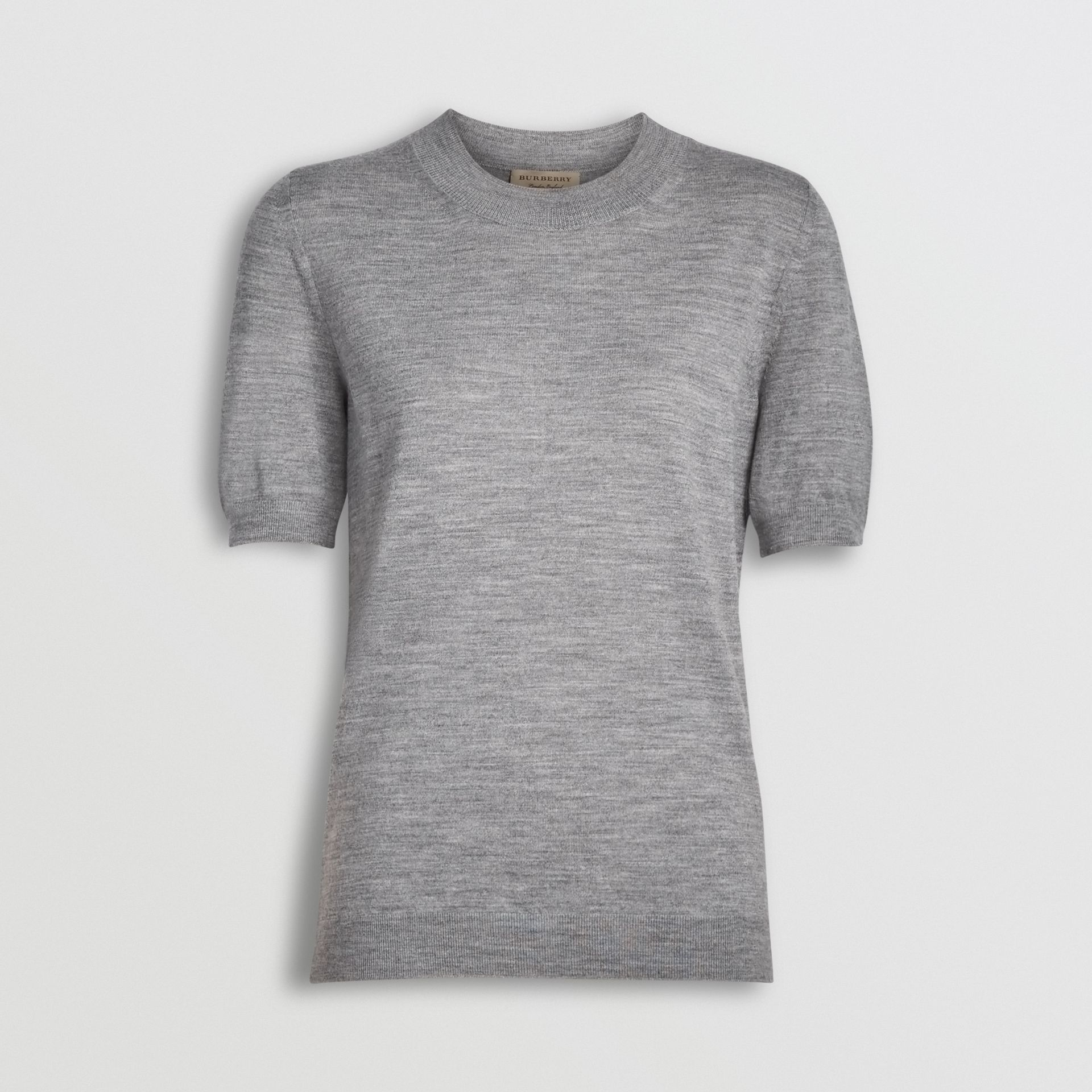 Crew Neck Merino Wool Sweater in Grey Melange - Women | Burberry - gallery image 3