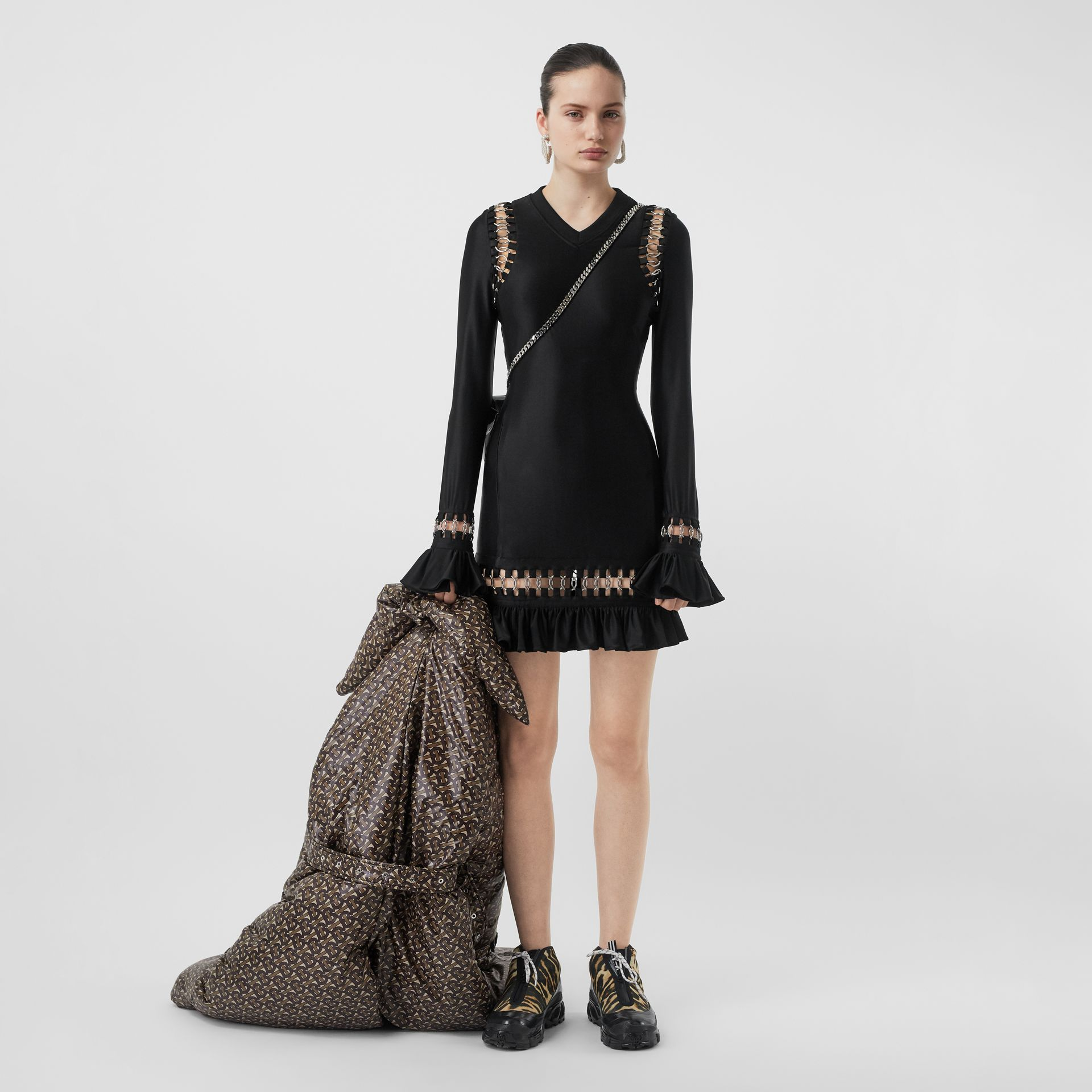 Ring-pierced Stretch Jersey Mini Dress in Black - Women | Burberry - gallery image 0