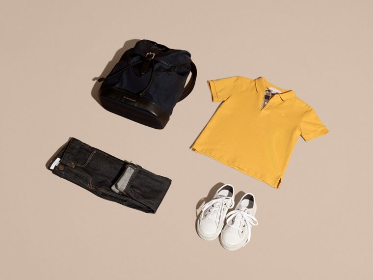 Check Placket Polo Shirt in Bright Yellow - Boy | Burberry - cell image 4