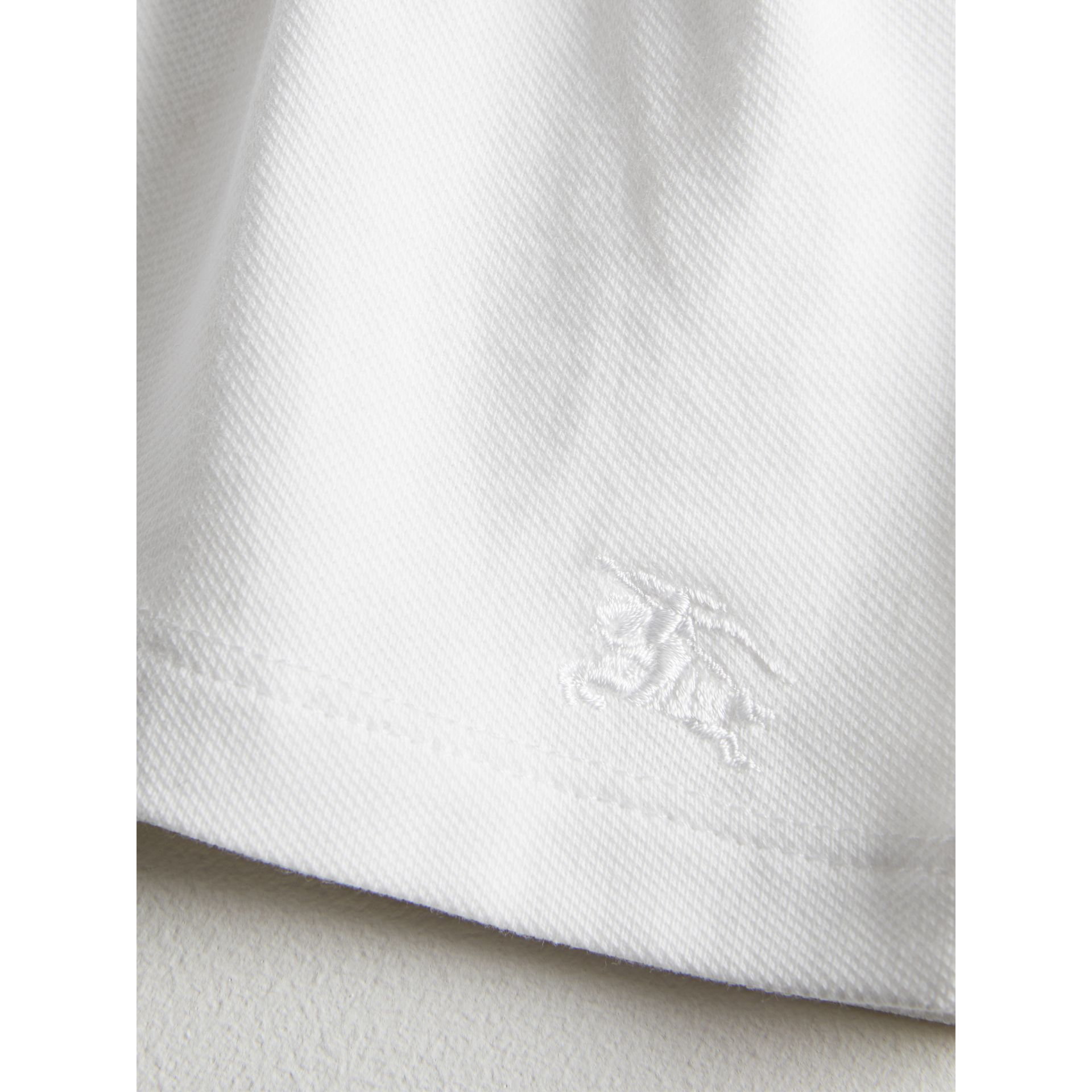 Check Detail Stretch Cotton Piqué Dress in White | Burberry - gallery image 1
