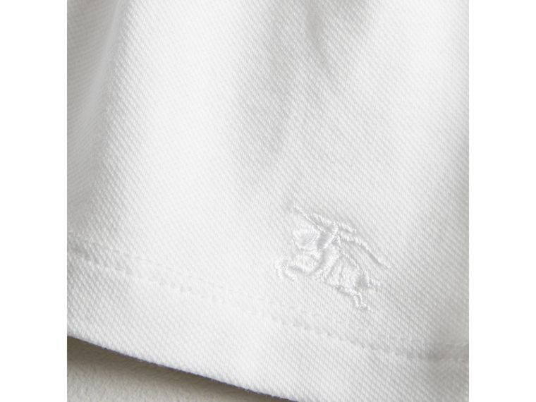 Check Detail Stretch Cotton Piqué Dress in White | Burberry - cell image 1