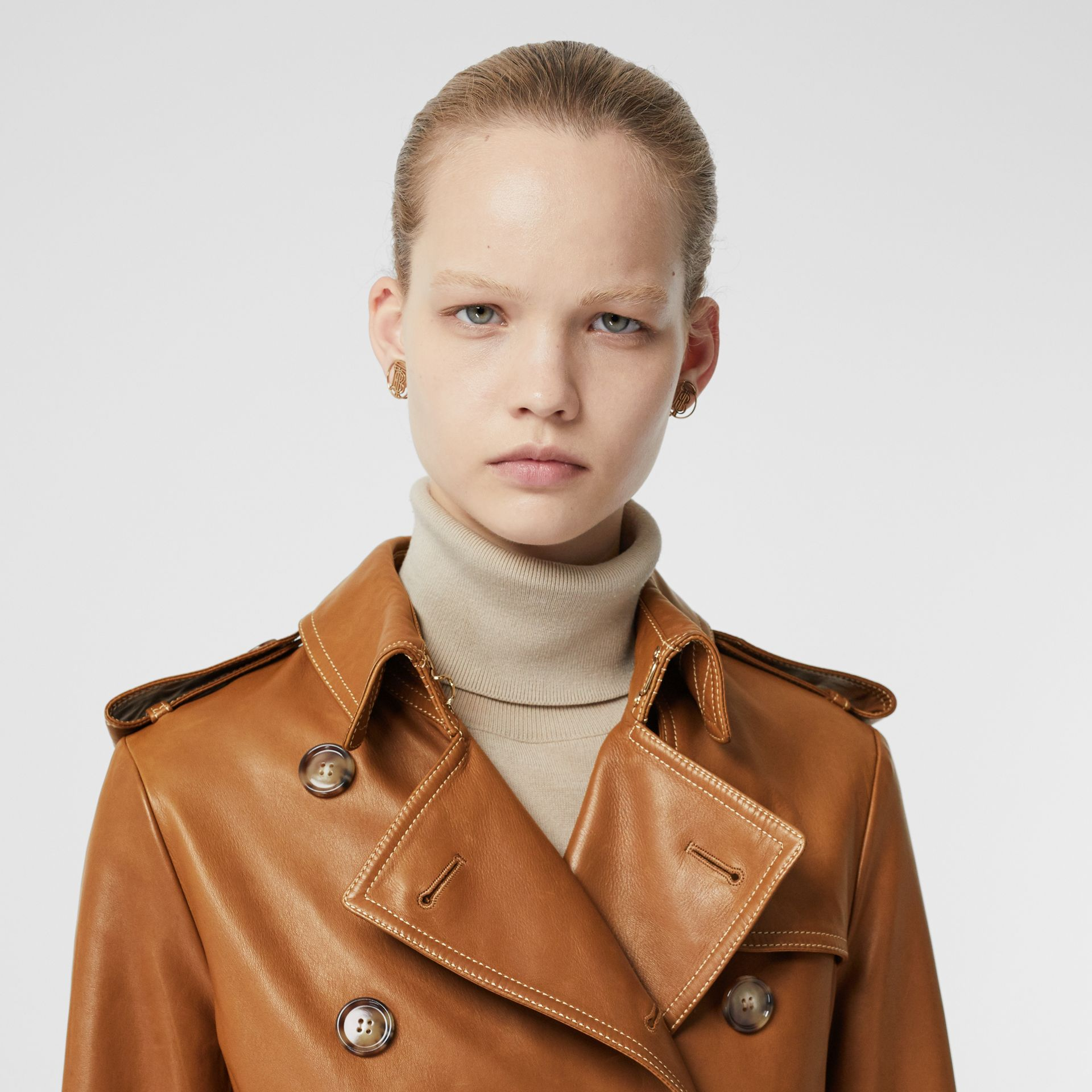 Topstitch Detail Lambskin Trench Coat in Maple - Women | Burberry United Kingdom - gallery image 5