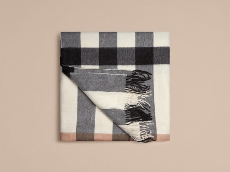 Ivory check Check Cashmere Blanket - cell image 2