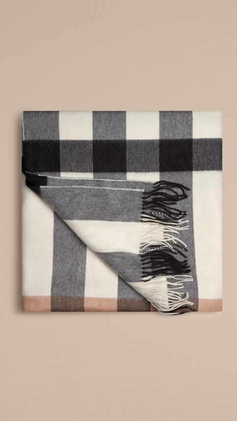 Ivory check Check Cashmere Blanket - Image 3