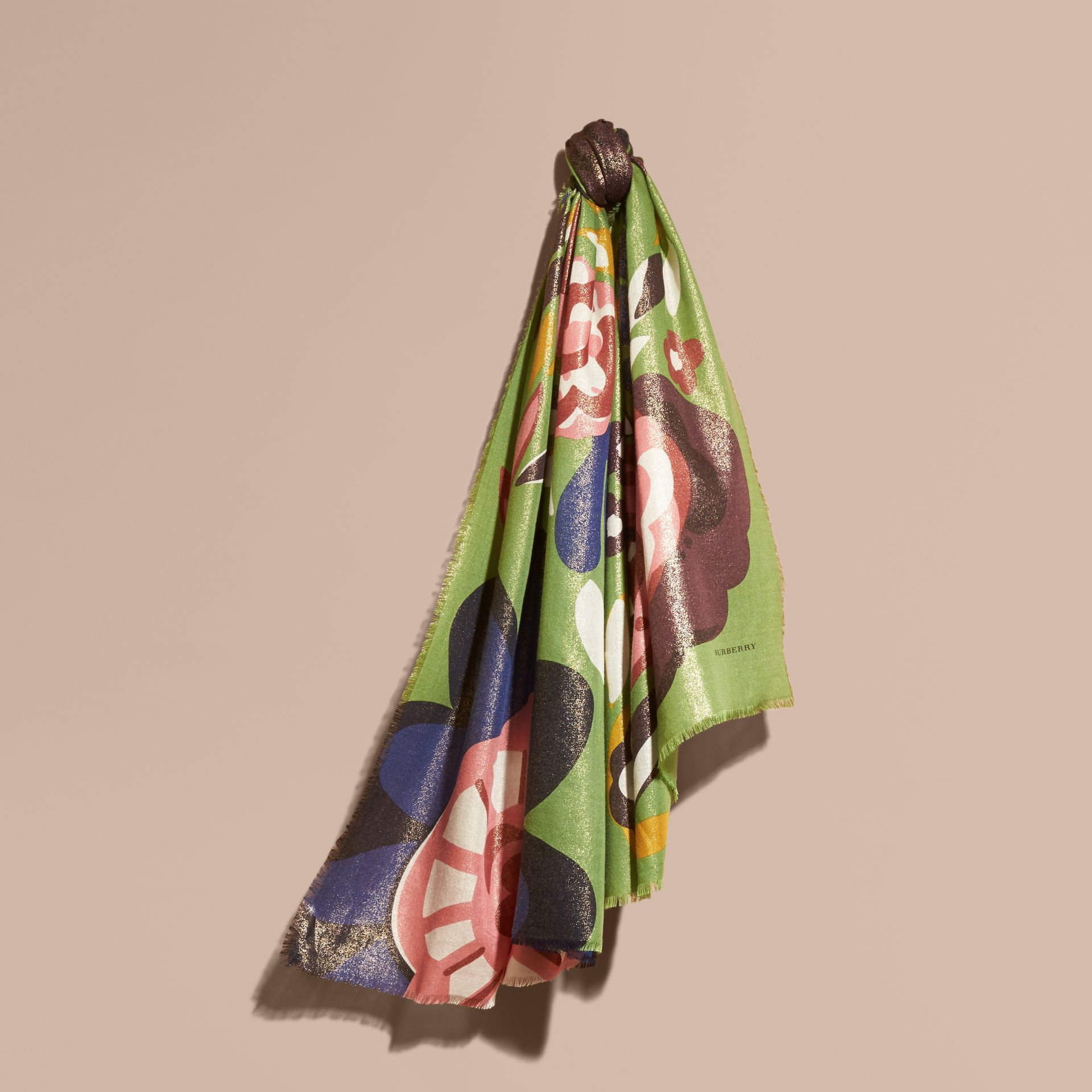 Green oxide Floral Metallic Cashmere Scarf Green Oxide - gallery image 1
