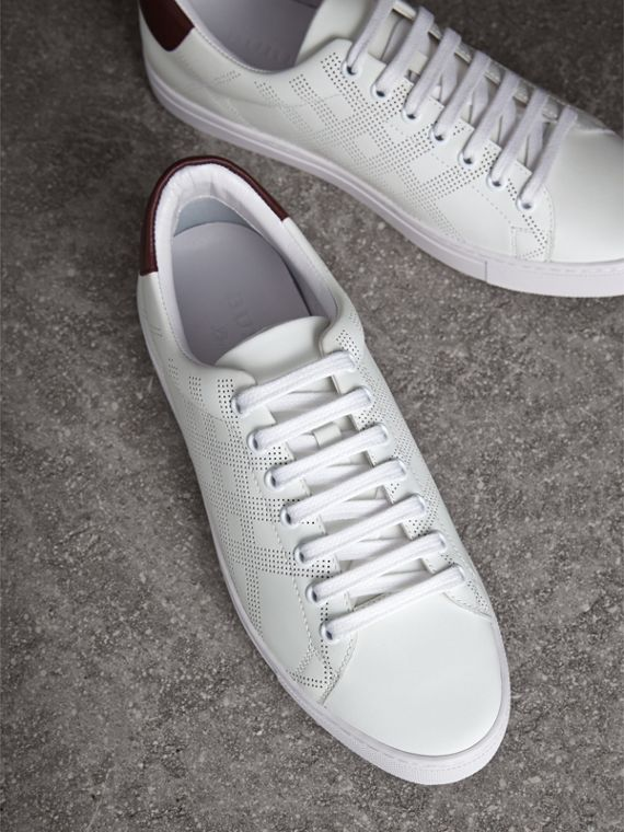 Perforated Check Leather Trainers in Optic Whit/deep Claret - cell image 3