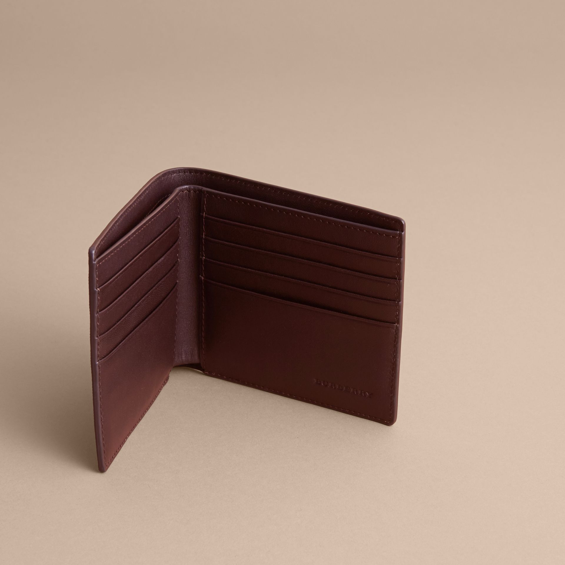London Check Folding Wallet in Deep Claret - Men | Burberry Singapore - gallery image 5