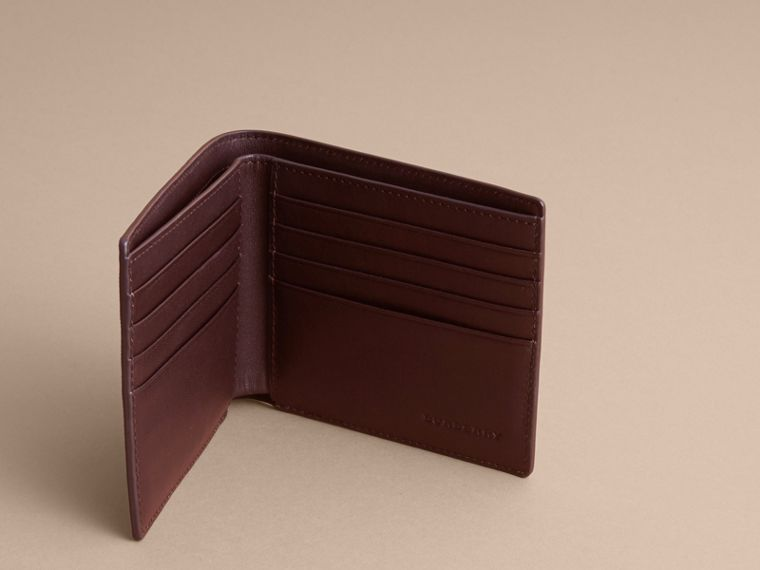 London Check Folding Wallet in Deep Claret - Men | Burberry Australia - cell image 4