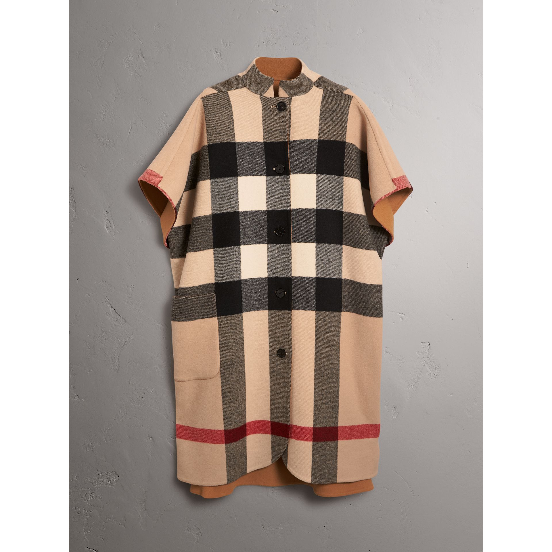 Reversible Check Oversized Poncho in Camel - Women | Burberry - gallery image 7