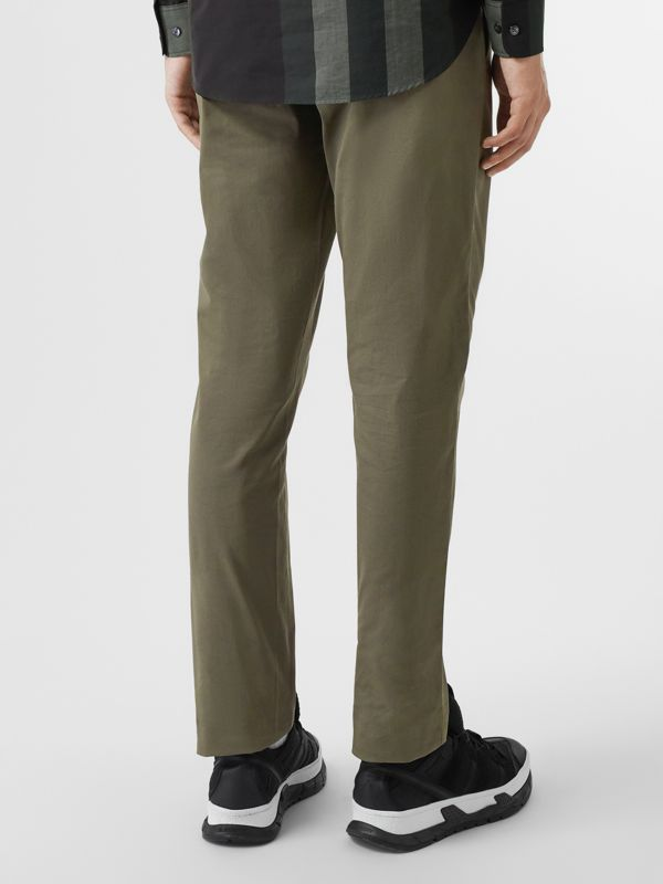 Slim Fit Cotton Chinos in Military Green - Men | Burberry - cell image 2