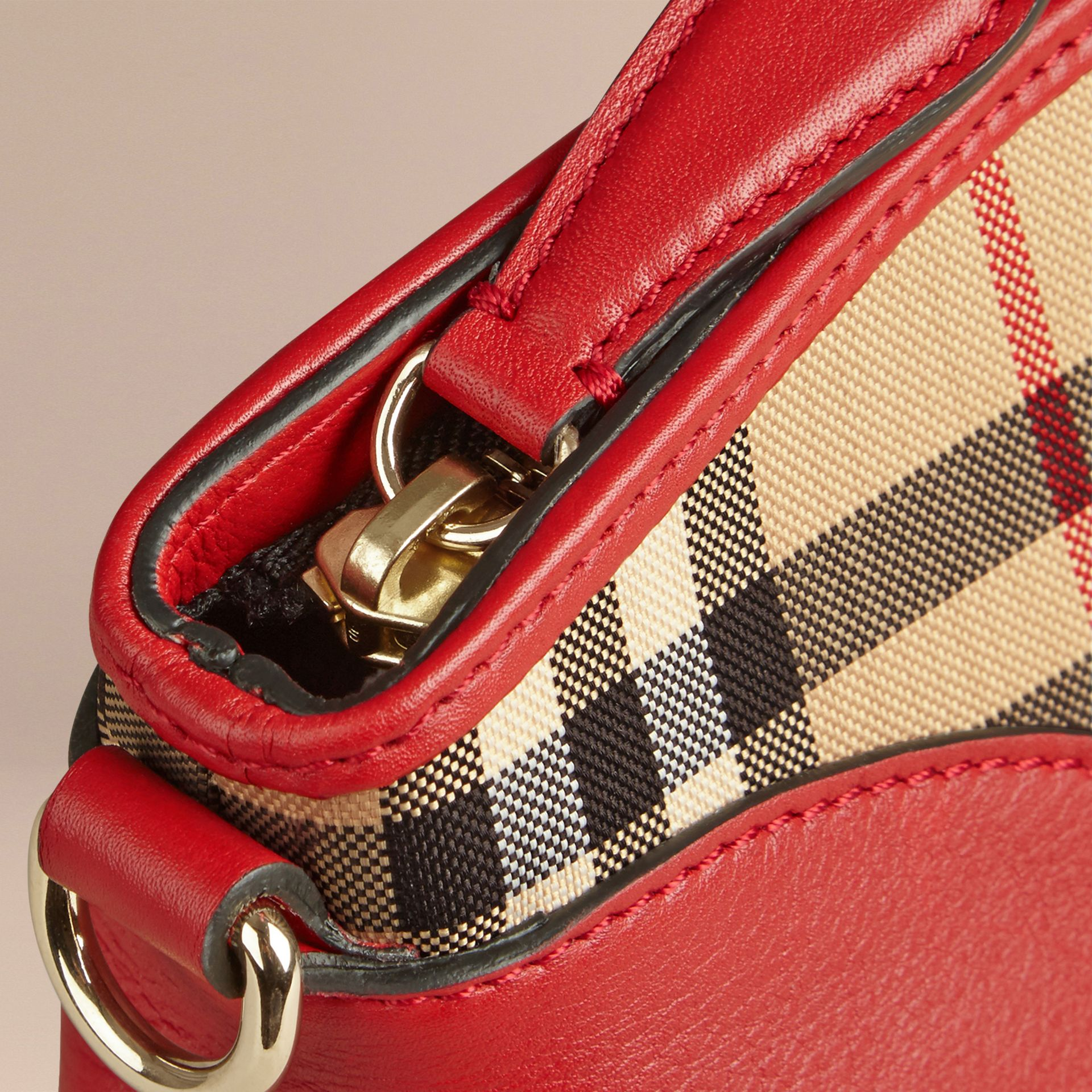 Horseferry Check and Leather Clutch Bag in Honey/parade Red - gallery image 5