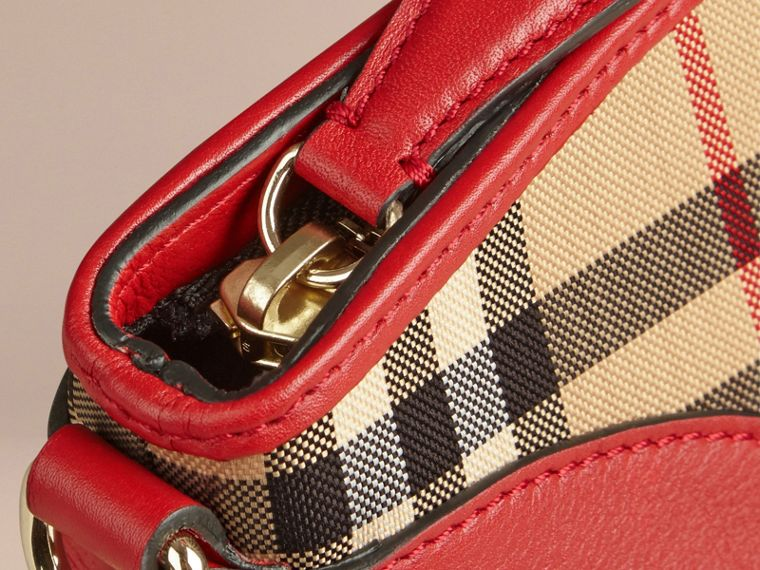 Horseferry Check and Leather Clutch Bag Honey/parade Red - cell image 4