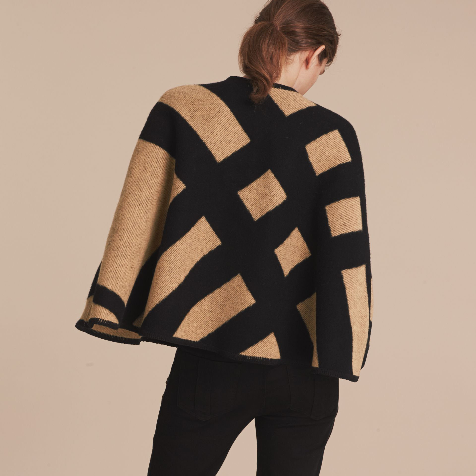 Check Wool Cashmere Blanket Cape in Camel/black - Women | Burberry Canada - gallery image 3