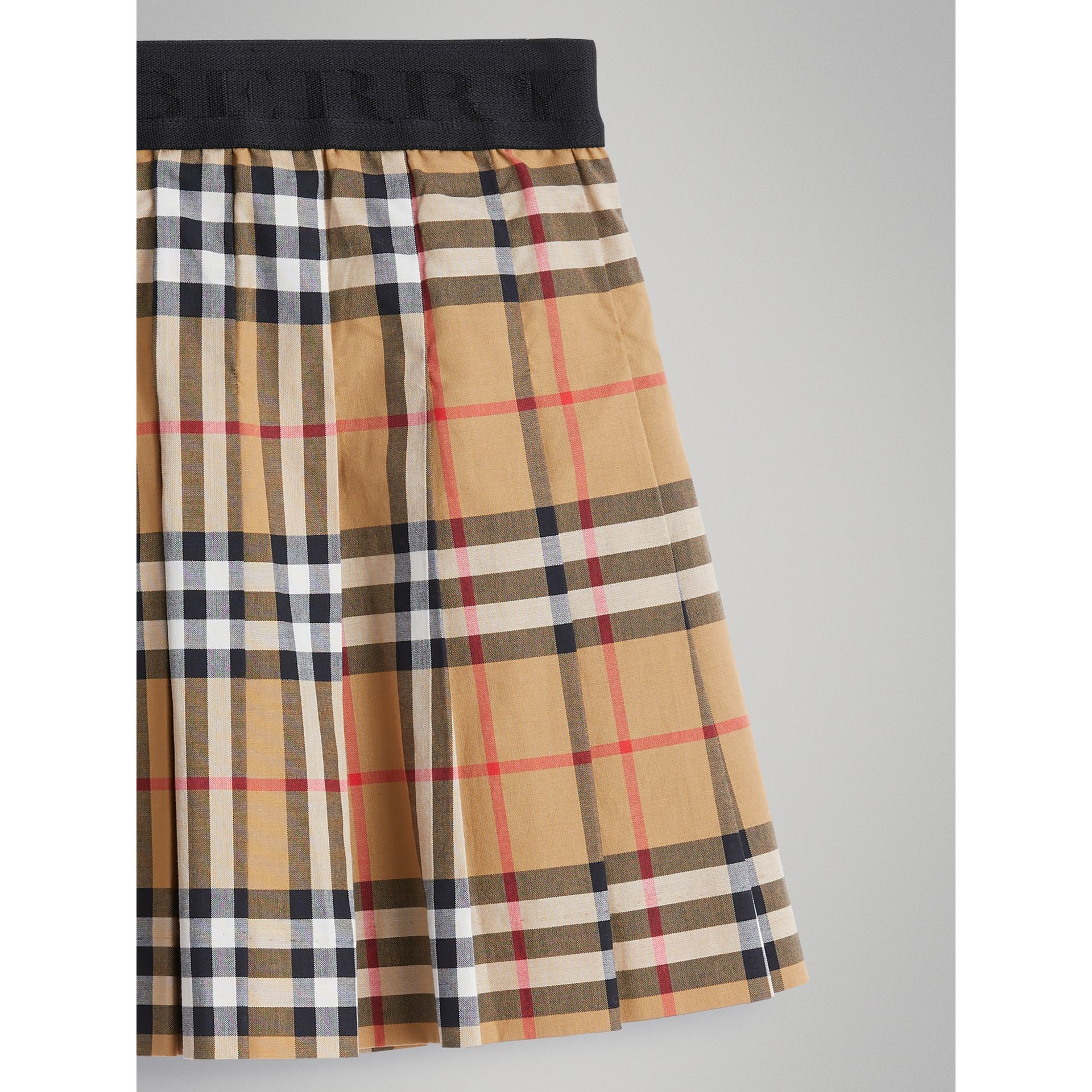 Pleated Vintage Check Cotton Skirt in Antique Yellow - Girl | Burberry - gallery image 4